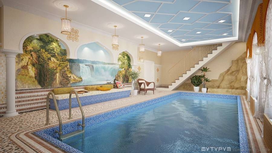 Дизайн сауны с бассейном и биллиардной. Свердловская область