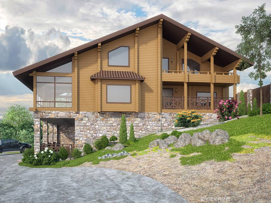 Дизайн фасада загородного дома на склоне