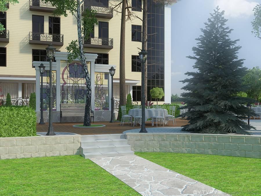 Ландшафтный дизайн для гостиницы