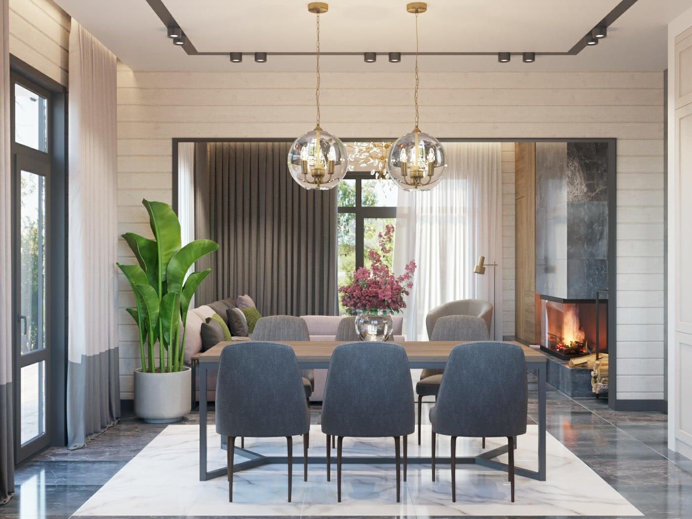 Современный дизайн в доме из бруса